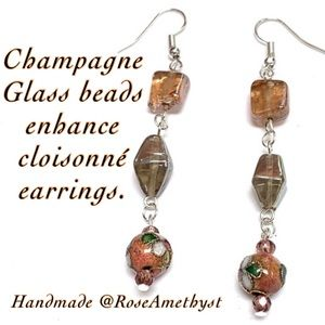 Cloisonné and Champagne Glass Handmade Earrings